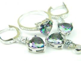 Set bijuterii unicat, argint rodiat, aspect aur alb, patru piese, topaz mistic si zirconii
