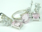 Set bijuterii unicat, argint rodiat, aspect aur alb, inel si cercei, topaz roz si alb