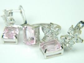 Set bijuterii, argint rodiat, aspect aur alb, inel si cercei, topaz roz si alb