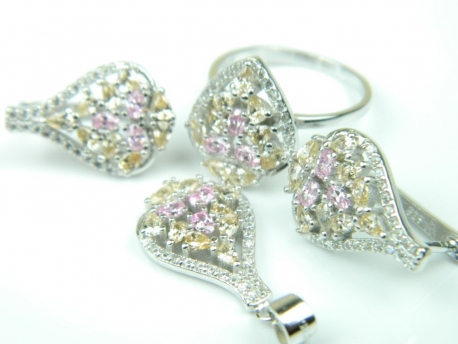 Set bijuterii unicat, argint rodiat, aspect aur alb, patru piese, citrin, topaz roz si zirconii