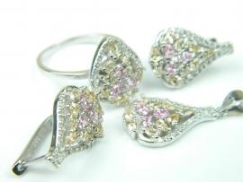 Set bijuterii argint rodiat, aspect aur alb, patru piese, citrin, topaz roz si zirconii
