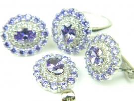Set bijuterii unicat, argint rodiat, aspect aur alb, patru piese, ametist si zirconii