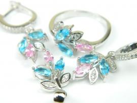 Set bijuterii unicat, argint rodiat, aspect aur alb, patru piese, topaz bleu si roz si zirconii