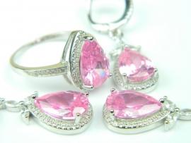 Set bijuterii unicat, argint rodiat, aspect aur alb, patru piese, topaz roz si zirconii
