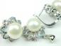 Set bijuterii argint rodiat, aspect aur alb, cercei si pandantiv, perla si zirconii multicolore