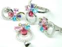 Set bijuterii, argint rodiat, aspect aur alb, patru piese, rubin, ametist, topaz bleu si roz si zirconii