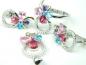 Set bijuterii unicat, argint rodiat, aspect aur alb, patru piese, rubin, ametist, topaz bleu si roz si zirconii