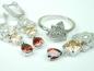 Set bijuterii, argint rodiat, aspect aur alb, patru piese, citrin, granat si zirconii