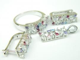 Set bijuterii, argint rodiat, aspect aur alb, patru piese, zirconii