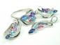 Set bijuterii, argint rodiat, aspect aur alb, patru piese, topaz roz, topaz bleu, ametist, safir si zirconii