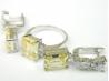 Set bijuterii, argint rodiat, aspect aur alb, inel si cercei, citrin si topaz alb