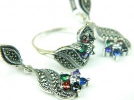 Set bijuterii argint, cercei si inel, zirconii si marcasite