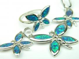 Set bijuterii argint rodiat, aspect aur alb, patru piese, opal verde