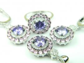 Set bijuterii argint rodiat, aspect aur alb, patru piese, ametist, topaz roz si zirconii