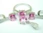 Set bijuterii argint rodiat, aspect aur alb, patru piese, topaz roz si zirconii