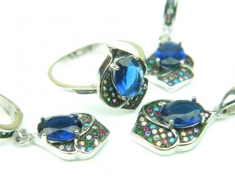 Set bijuterii argint rodiat, aspect aur alb, patru piese, safir si zirconii multicolore