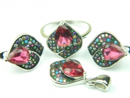 Set bijuterii, argint rodiat, aspect aur alb, patru piese, rubin si zirconii multicolore