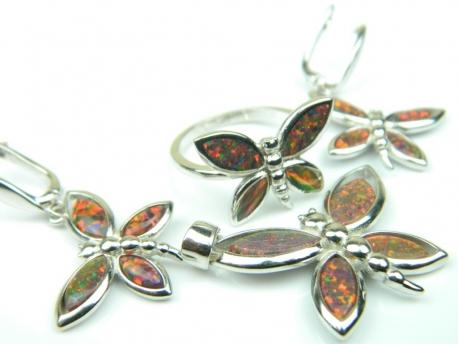 Set bijuterii argint rodiat, aspect aur alb, patru piese, opal de foc