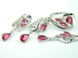 Set bijuterii, argint rodiat, aspect aur alb, patru piese, rubin si zirconii