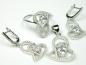 Set bijuterii argint rodiat cercei, pandantiv, inel, zirconii