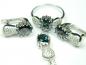 Set bijuterii argint rodiat, inel, cercei, pandantiv, topaz mistic si zirconii