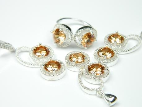 Set bijuterii argint, inel, cercei, pandantiv, citrin si zirconii