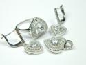 Set bijuterii argint rodiat, aspect aur alb, inel, cercei, pandantiv, zirconii