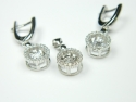 Set bijuterii argint rodiat, aspect aur alb, pandantiv si cercei, zirconii