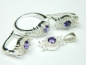 Set bijuterii argint, inel, cercei, pandantiv, ametist si zirconii