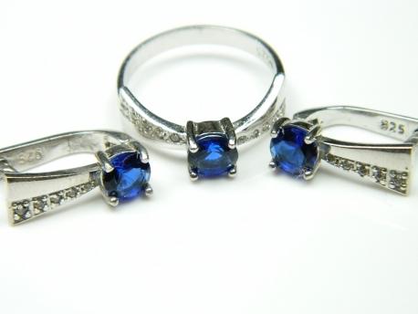 Set bijuterii argint rodiat, aspect aur alb, inel si cercei, safir si zirconii