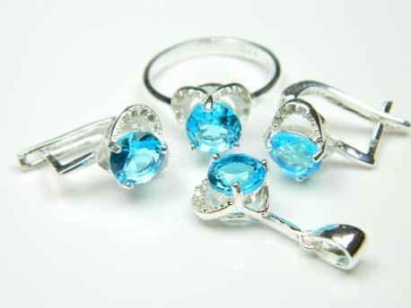 Set bijuterii argint, inel, cercei, pandantiv, topaz si zirconii