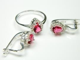 Set bijuterii argint, inel si cercei, topaz roz si zirconii
