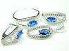 Set bijuterii argint, inel, cercei, pandantiv, safir si zirconii