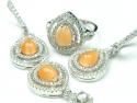 Set bijuterii argint rodiat, pandantiv, cercei, inel, zirconii