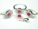 Set bijuterii argint, inel, cercei, pandantiv, quartz roz si zirconii