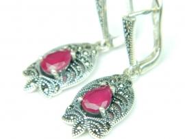 Cercei argint cuart roz si marcasite