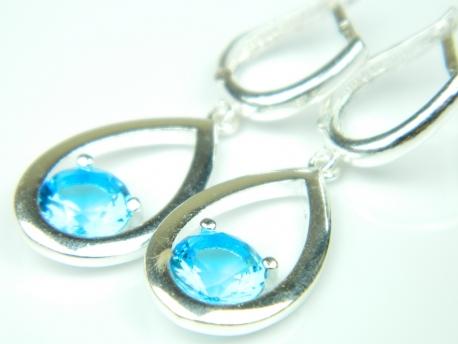 Cercei argint topaz bleu