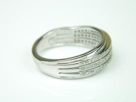 Inel argint rodiat, aspect aur alb, model italian, zirconia