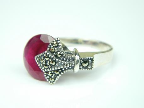 Inel argint cuart roz si marcasite