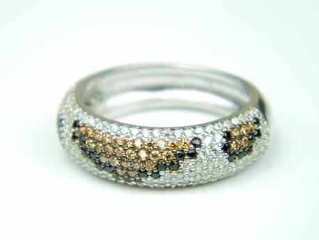 Inel argint rodiat, aspect aur alb, textura piele sarpe, zirconii