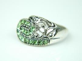 Inel argint handmade, vintage, zirconii