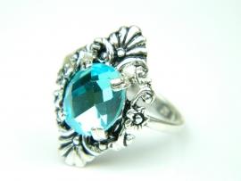 Inel argint handmade, vintage, piatra bleu